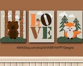 Nursery Wall Poster Print Set of 3 Woodland Fox and Bear Layered Digital Minimalist Art 8X10 10X10 11X14 16X20 12X12 16X16 20X20 w Mount Opt