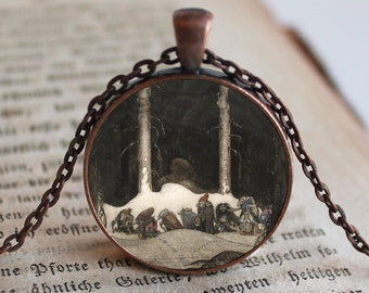 Trolls and Elves Pendant/Necklace Jewelry, John Bauer Necklace Jewelry, Photo Jewelry Glass Pendant Gift, Fairies, Pixies, Mythological