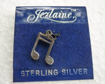 Sterling Silver Charm Musical Note Pendant Dead Stock Hallmarked '925' Made by Jezlaine 1980's