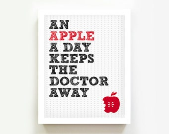 Kitchen art Apple a day keeps the doctor away Kitchen decor Wall art print Doctors office Kids room Inspirational quote gift Red MossyJojo