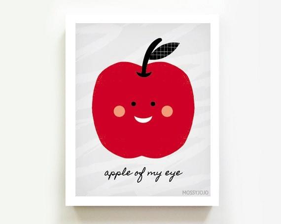Apple Of My Eye Nursery Decor Kitchen Art Kids Wall By