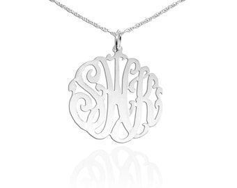 Monogram Necklace - 1 inch Sterling Silver Handcrafted Initial Necklace - Made in USA