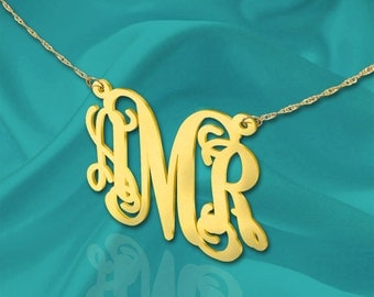 Monogram necklace - 1.5 inch Personalized Monogram - Sterling Silver 24K Gold Plated - Handcrafted Monogram - Made in USA