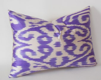 Violet  White İkat Decorative Pillow Cover, Silk İkat Pillow, Throw Pillow,Handmade Pillow, İkat Cushion Cover