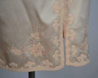 Exquisite 1940s Pale Peach Silk Half Slip with Meticulous Hand Embroidery and Applique