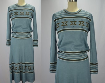 1970s Knit Perfection Blue Patterned Sweater & Skirt Set Great as Separates