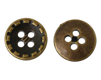 20 Round Antique Bronze Four Holes Stitch Pattern Button - pack of 20 PB90