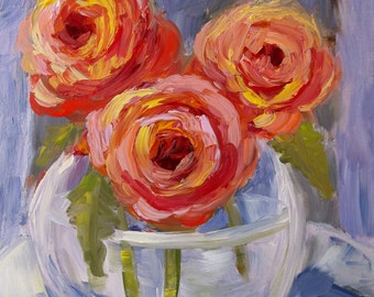 Original abstract floral painting flower roses art impasto impressionist painting on canvas