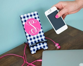 Custom Personalized Cell Phone Stand Holder Charger - Monogram Phone Stand - 30 Design Options