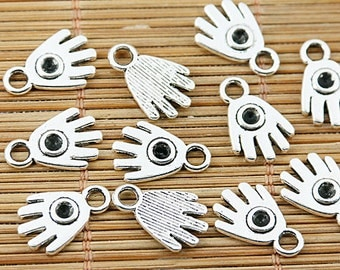 52pcs tibetan silver tone hole on hand design charms EF1529