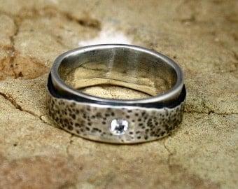 Organic Rustic Alternative Mans Wedding   Band Recycled Silver Gem Stone Jewelry Metalwork Ring