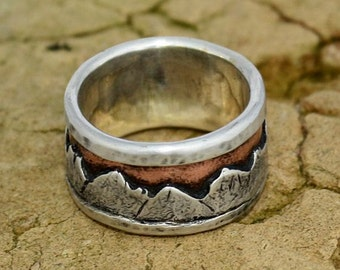 A Mountain Range Mans Wedding Band Silver Copper Metalwork Ring