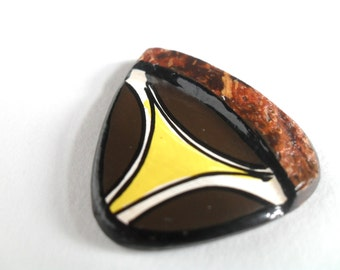 Coconut Shell Pendant, Engraved and Painted Coconut Bead