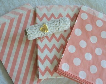 Light Coral Favor Bags, Candy Buffet Bags, Treat Bags, Party Favors