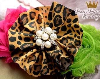 Distinctive Instincts - Headband, Baby Headband, Photography Prop, Couture Headband, Hair Clip, Animal Print, Leopard Print Headband