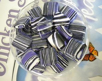Purple Turkey Turquoise - 15 Inch Strand - 20 Beads - Black and White Striped - Diamond Shaped  - 14MM Boho Stripe - Semiprecious