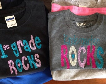 First Grade or Kindergarten Rocks shirt