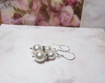 25% off Wedding Jewelry, Bridal or Bridesmaid White Swarovski pearls  silver earrings