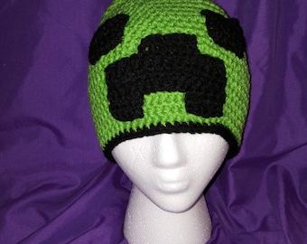 Creeper, Minecraft Crocheted Beanie
