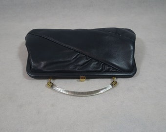 Vintage Handbag, Purse - Navy Leather Bag With Plastic Handle