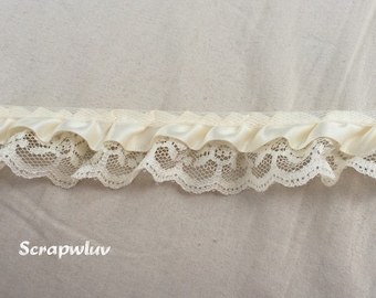 "Ivory Ruffled Satin Trim 7/8"" wedding sewing crafts scrapbook"