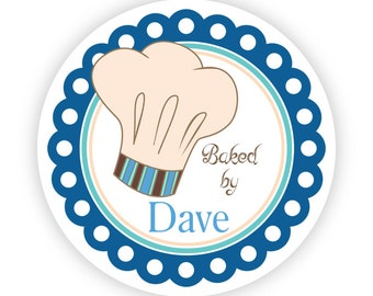 Kitchen Stickers - Blue Turquoise, Mans Kitchen Cooking Bakers Chef Hat Personalized Baking Made By Label Stickers - 20 Round Kitchen Labels