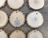 10 qty 3 inch wood slice ornaments, with holes, tree branch slices, pendants, wood jewelry, clear grain, rustic weddings, Christmas decor,