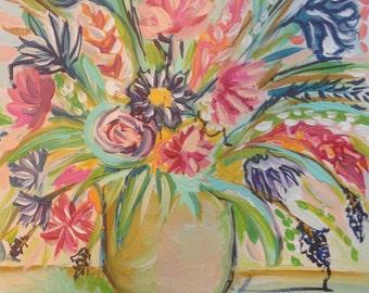 Expressive flower still life painting, abstract floral, abstract flowers, floral abstract, contemporary flowers art, modern floral art, boho