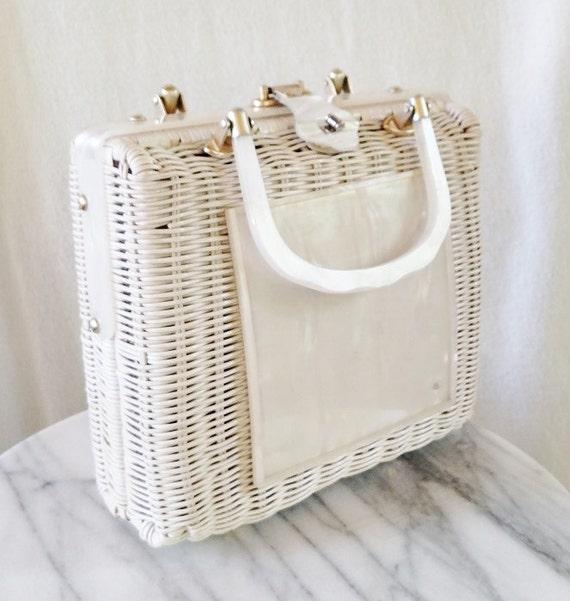 Vintage White Lucite Wicker Basket Clutch
