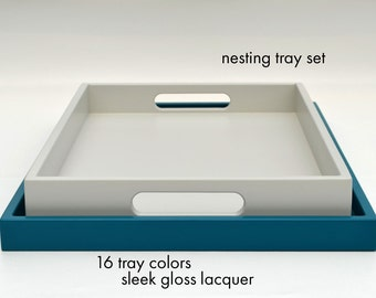 Nesting Coffee Table Trays, Gloss Lacquer, Ottoman Tray, Decorative Tray, Serving Tray, Gloss Lacquer Tray