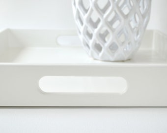 White Lacquered Serving Tray, 16 x 16 Ottoman Tray, Wood Coffee Table Tray