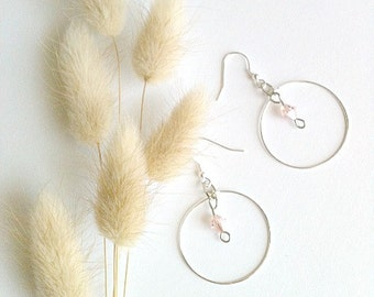 Silver Hoop Earrings With Pink Swarovski Accent Crystals