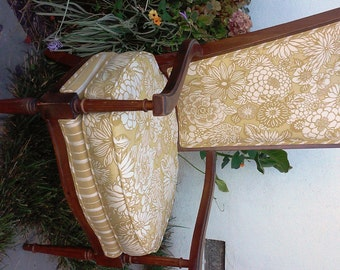 Vintage Throne Chair with Brass Pineapple Finials in Linen Designer Fabric
