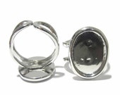 Handmade Ring Base Oval Ring Blanks for Costume Jewelry Adjustable Brass Cabochon Setting ID 7351