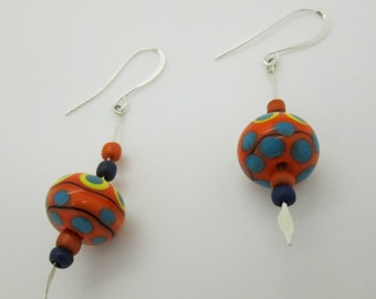 Polka Dot Lampwork Casual Earrings, Orange and Blue Dangle Earrings