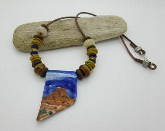 Southwest Lampwork Beaded Necklace, Artisan Landscape Necklace