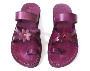 Leather Sandals, Leather Sandals Women, Sandals, Women's Shoes, FLOWER, Flip Flops, Biblical Sandals, Jesus Sandals, Sandals