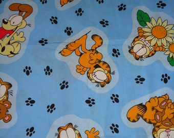 Blue Garfield/Odie Cotton Fabric by the Half Yard