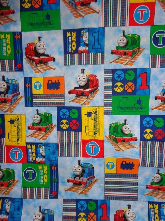 Thomas train blocked cotton fabric by the yard by dddesighns for Train fabric by the yard