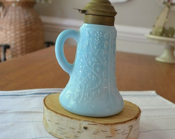 Antique Challinor and Taylor Blue Milk Glass Small Syrup Pitcher, Tree of Life Pattern, 1800's