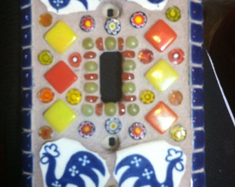 Mosaic Switch Plate with broken china chickens