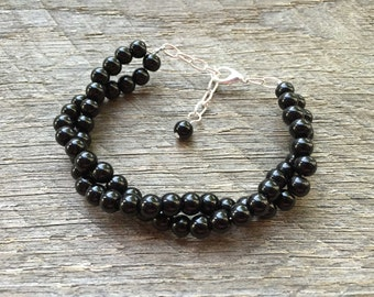Black Pearl Bracelet Twisted Clusters on Silver or Gold Chain