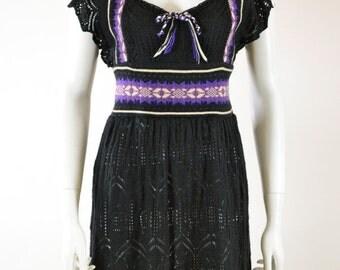ON SALE Vintage FAIR Isle Sweater Dress: Knit Jumper / 80s Sweater Dress / Up Cycled Sweater Dress / Crochet Sweater Dress / Winter / Knit D