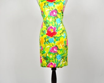 ON SALE Vintage 1980s Adrienne Vittadini Bright and Colorful Painterly Floral Mini Wiggle Dress