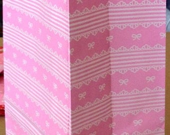 CLEARANCE White Lace and Little Ribbons on Pink... Small Paper Bags with Gusset. Set of 10