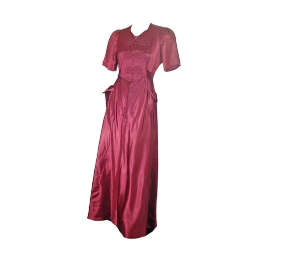 Glamour Gowns Tagged Size S The Deco Haus: On Sale Vintage 40s Dress Maroon Satin Dressing Gown M L