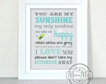 You Are My Sunshine, My Only Sunshine Art Prints for Nursery or Kids Room,  Baby Nursery Decor
