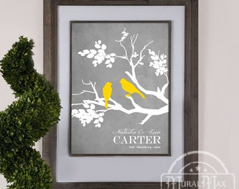 Personalized Wedding Gift Love Birds Family Tree Branch Anniversary Gift - Family Tree Print, Personalized Gift -Yellow and Gray