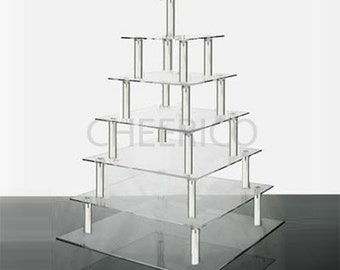 7 Tier Square Cupcake Stand Display Tower and Dessert Tower