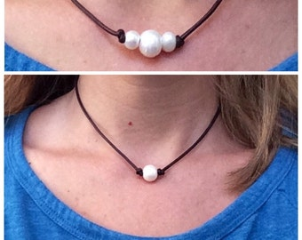 SALE- Set of 2 for 30.00 - Single and Triple Pearl and Leather Necklaces!  Beautiful Freshwater Pearls on Genuine Leather Cording